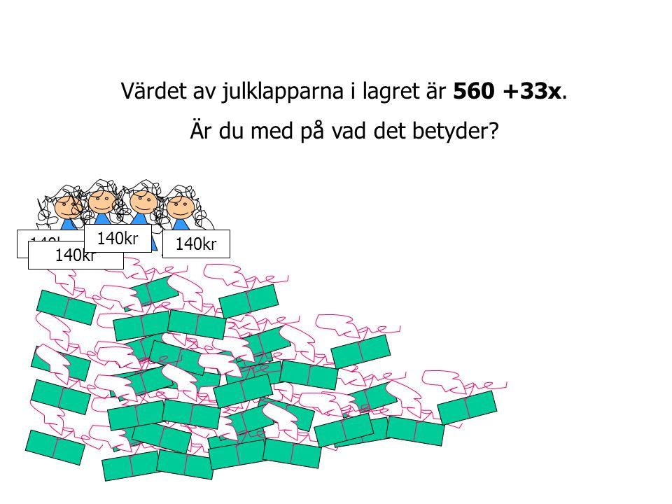 Värdet av julklapparna i lagret är 560 +33x.