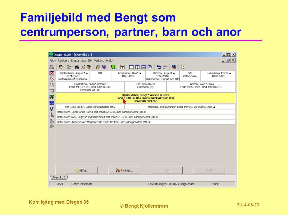 Familjebild med Bengt som centrumperson, partner, barn och anor
