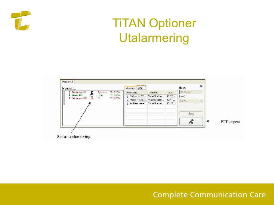 TiTAN Optioner Utalarmering