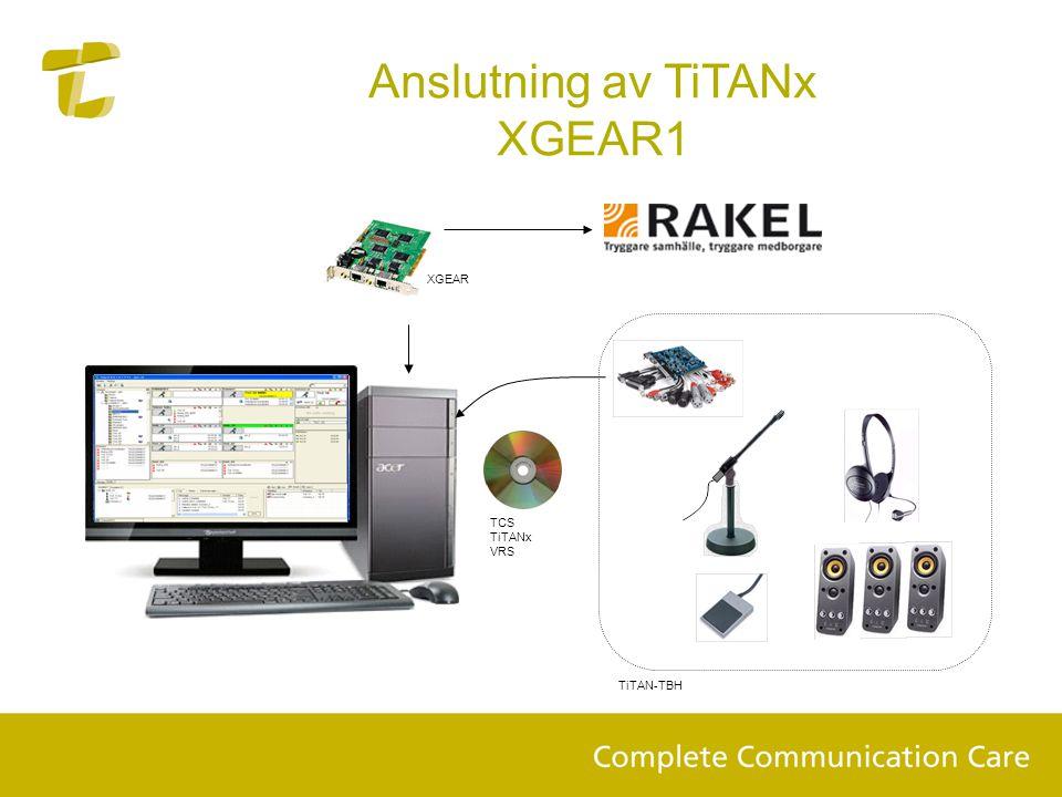 Anslutning av TiTANx XGEAR1