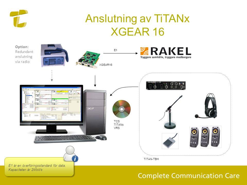 Anslutning av TiTANx XGEAR 16
