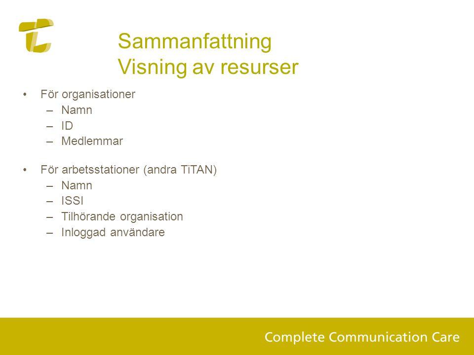 Sammanfattning Visning av resurser