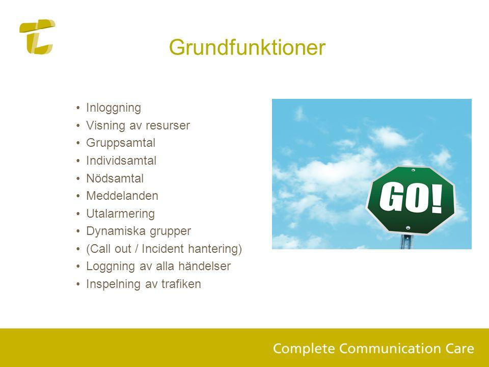 Grundfunktioner Inloggning Visning av resurser Gruppsamtal
