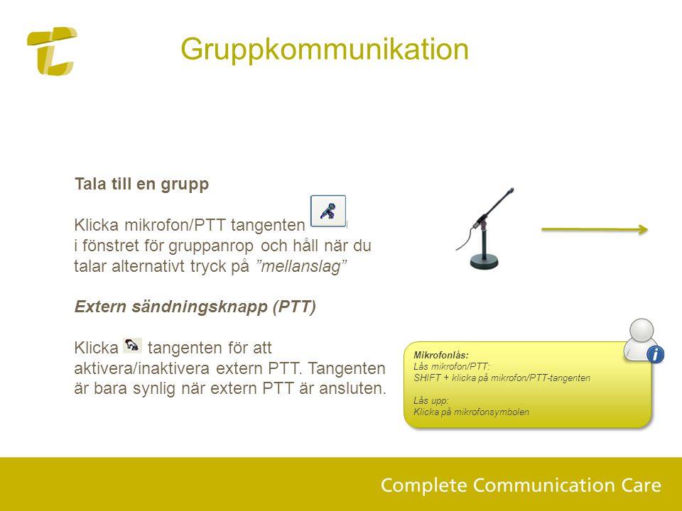 Gruppkommunikation Tala till en grupp