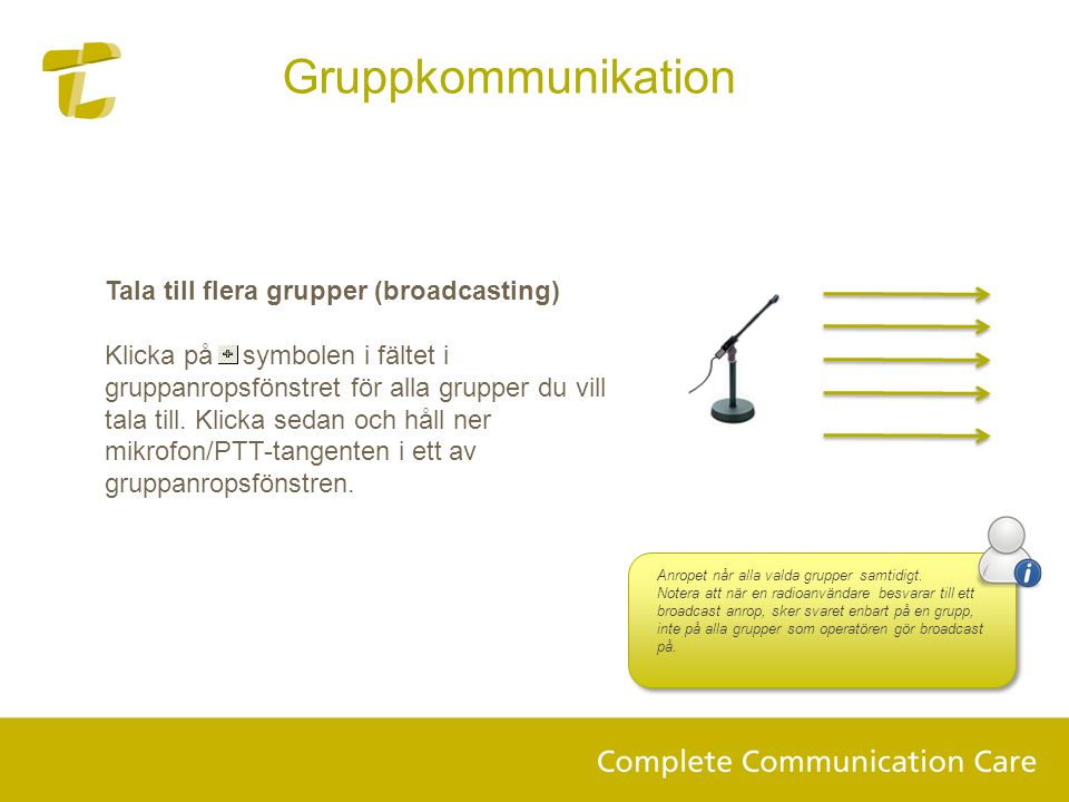 Gruppkommunikation Tala till flera grupper (broadcasting)