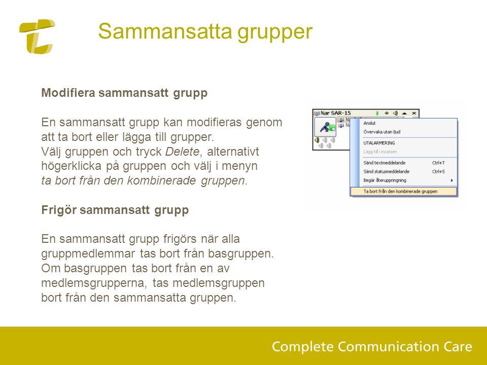 Sammansatta grupper Modifiera sammansatt grupp