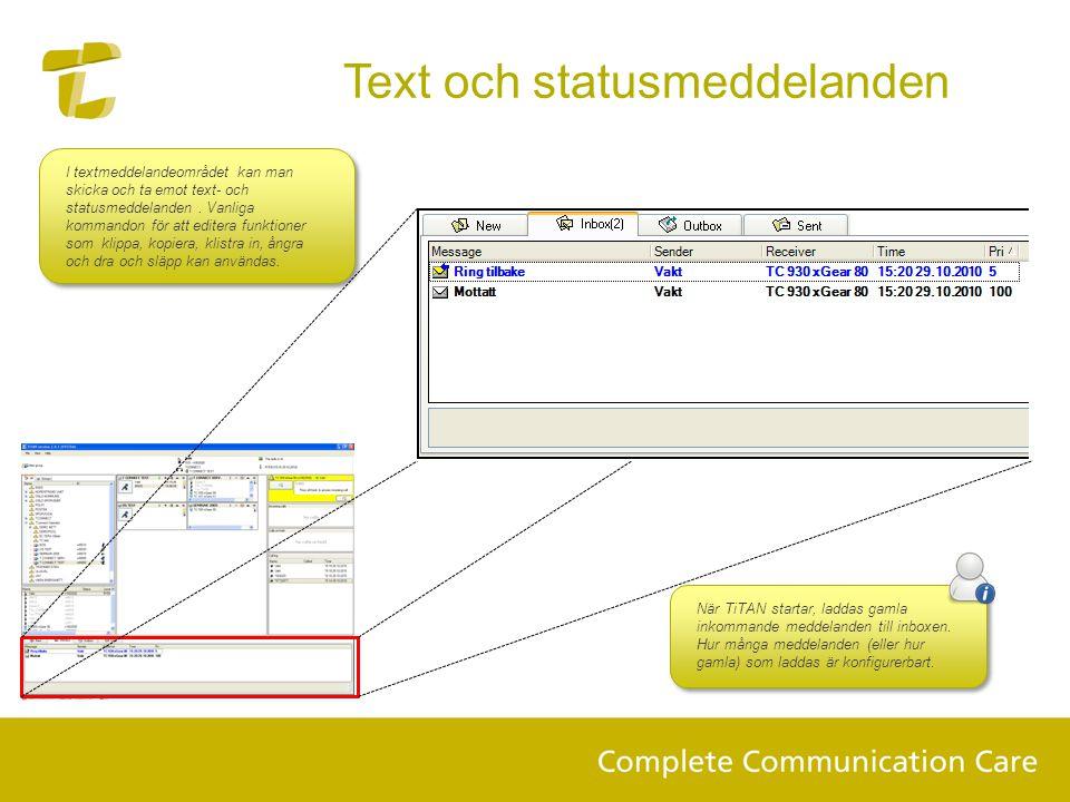 Text och statusmeddelanden