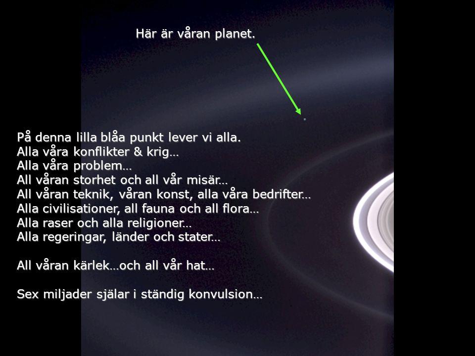 Här är våran planet. På denna lilla blåa punkt lever vi alla. Alla våra konflikter & krig… Alla våra problem…