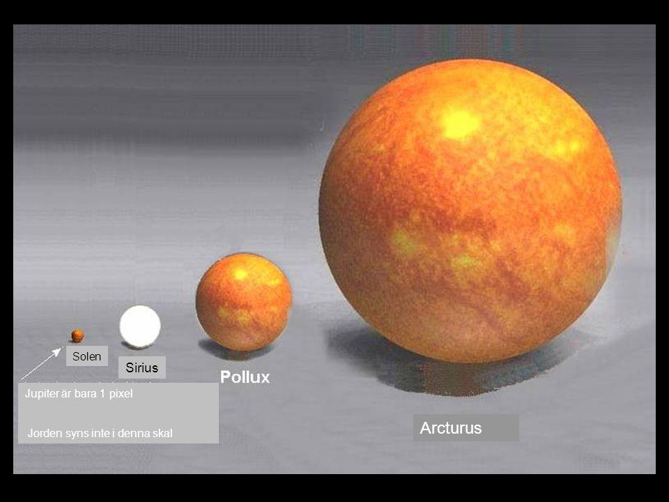Arcturus Sirius Solen Jupiter är bara 1 pixel