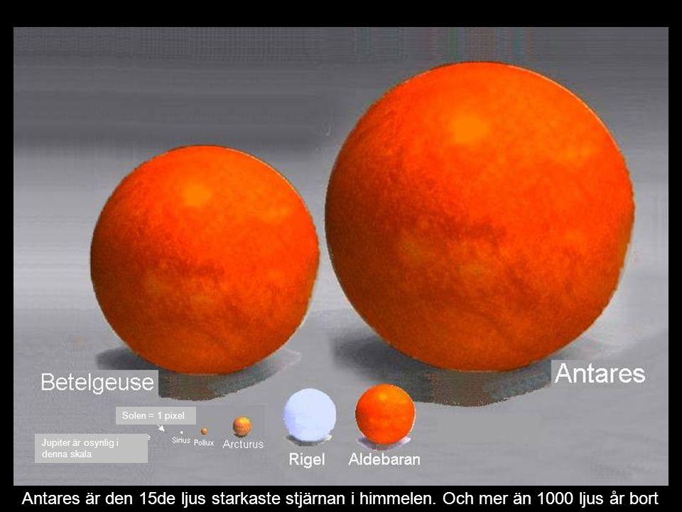 Solen = 1 pixel Jupiter är osynlig i denna skala.