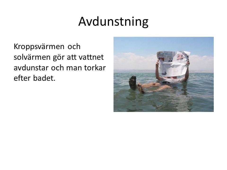 Avdunstning Kroppsvärmen och solvärmen gör att vattnet avdunstar och man torkar efter badet.