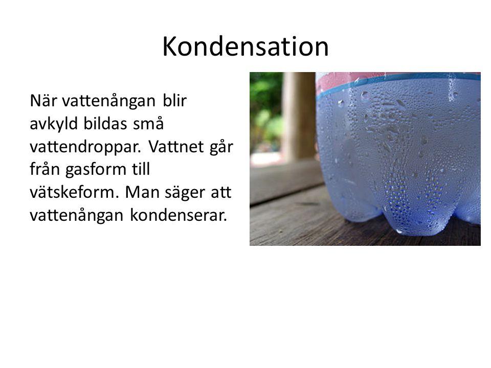 Kondensation När vattenångan blir avkyld bildas små vattendroppar.