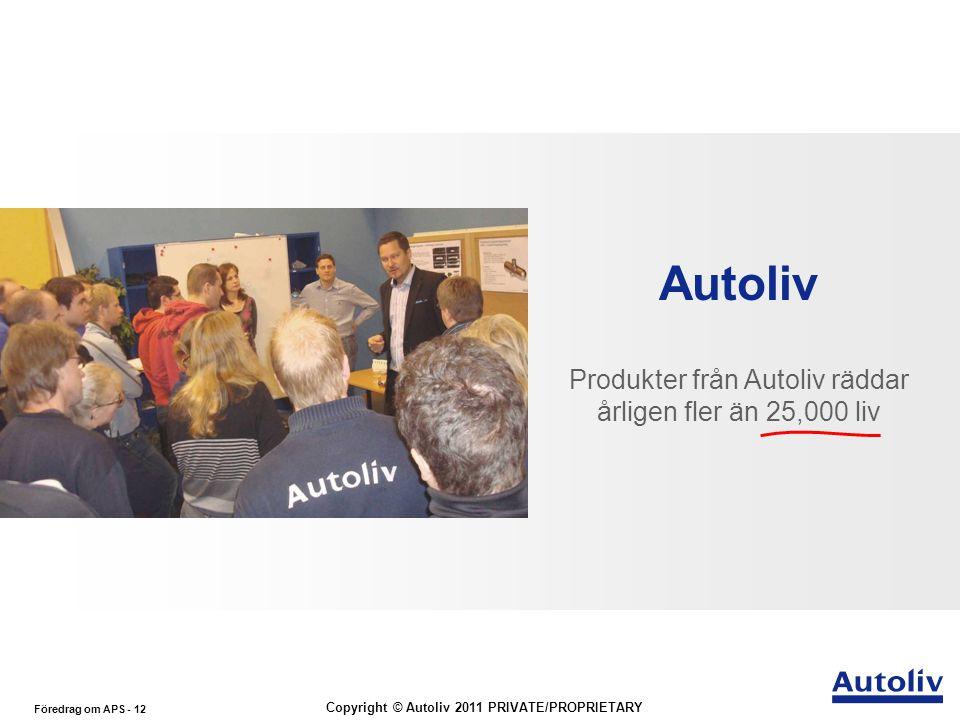 Produkter från Autoliv räddar årligen fler än 25,000 liv