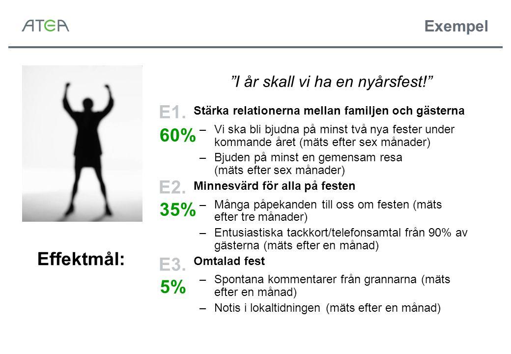 E1. 60% E2. 35% Effektmål: E3. 5% Exempel