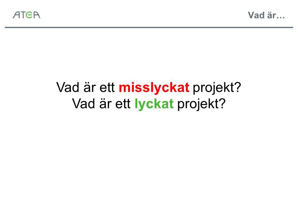Vad är ett misslyckat projekt Vad är ett lyckat projekt