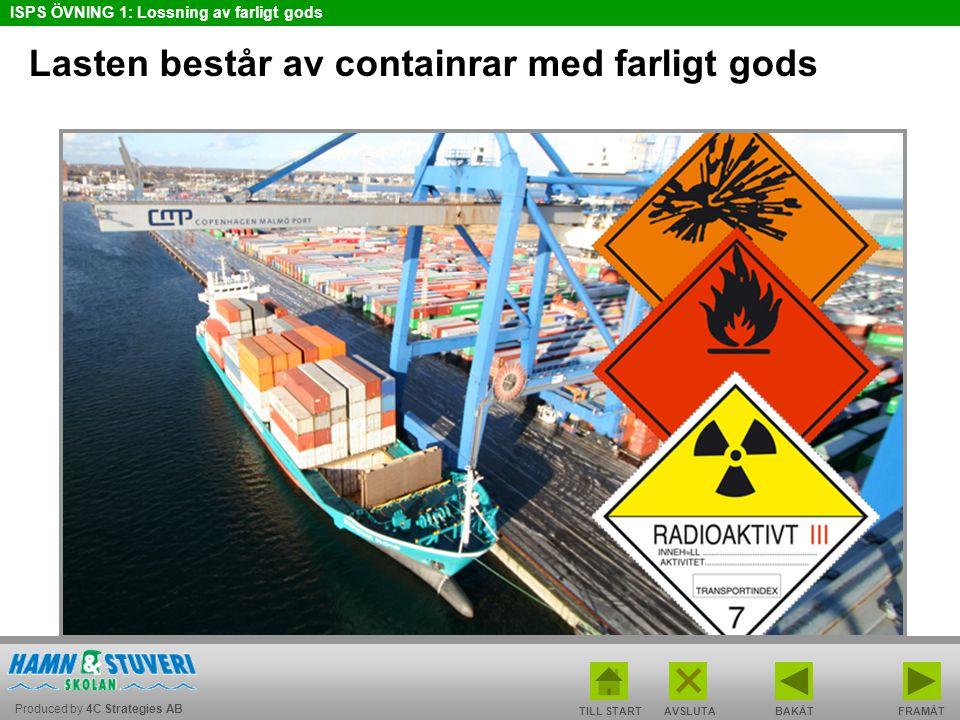 Lasten består av containrar med farligt gods