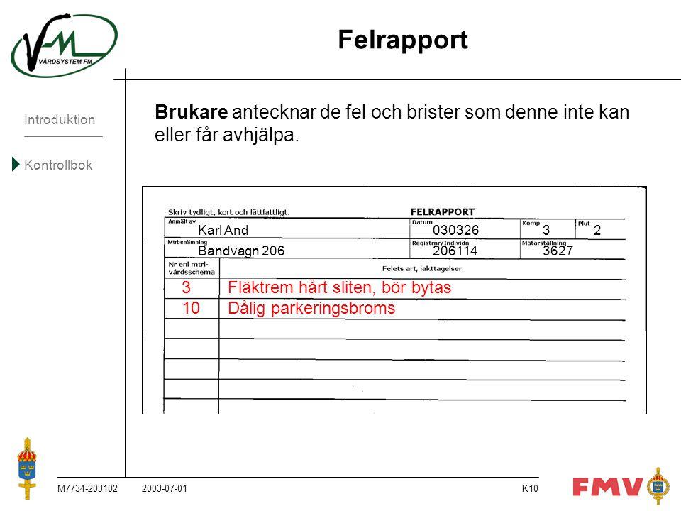 Felrapport Brukare antecknar de fel och brister som denne inte kan eller får avhjälpa. Karl And 030326 3 2.
