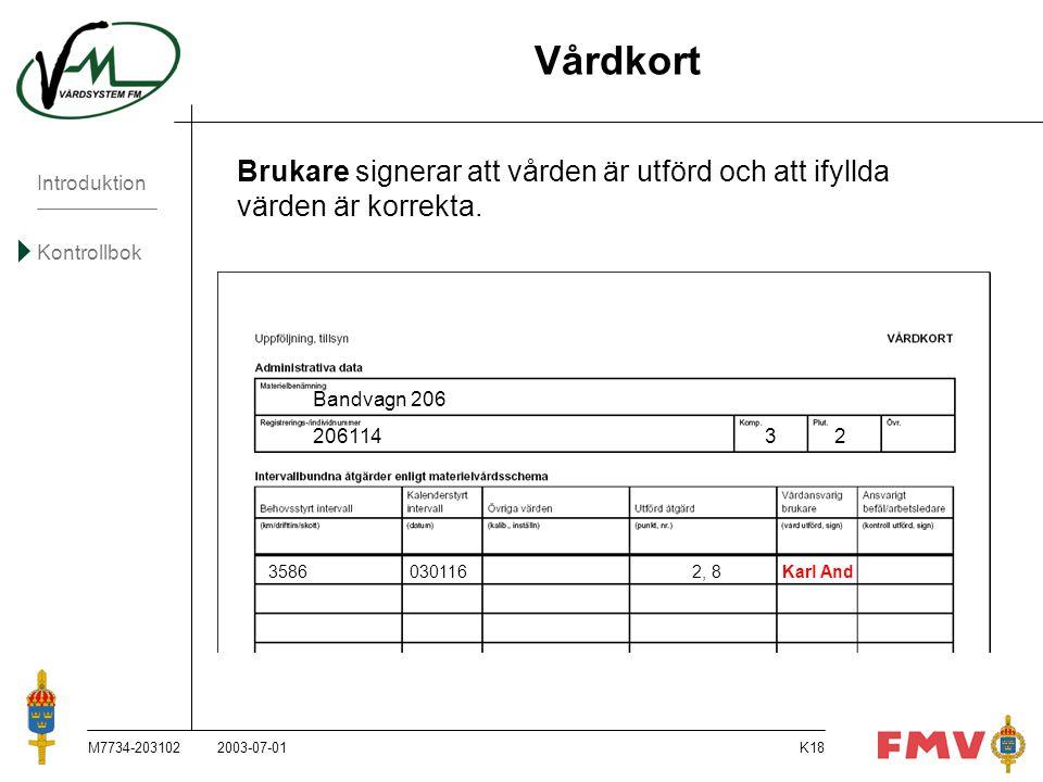 Vårdkort Brukare signerar att vården är utförd och att ifyllda värden är korrekta. Bandvagn 206.
