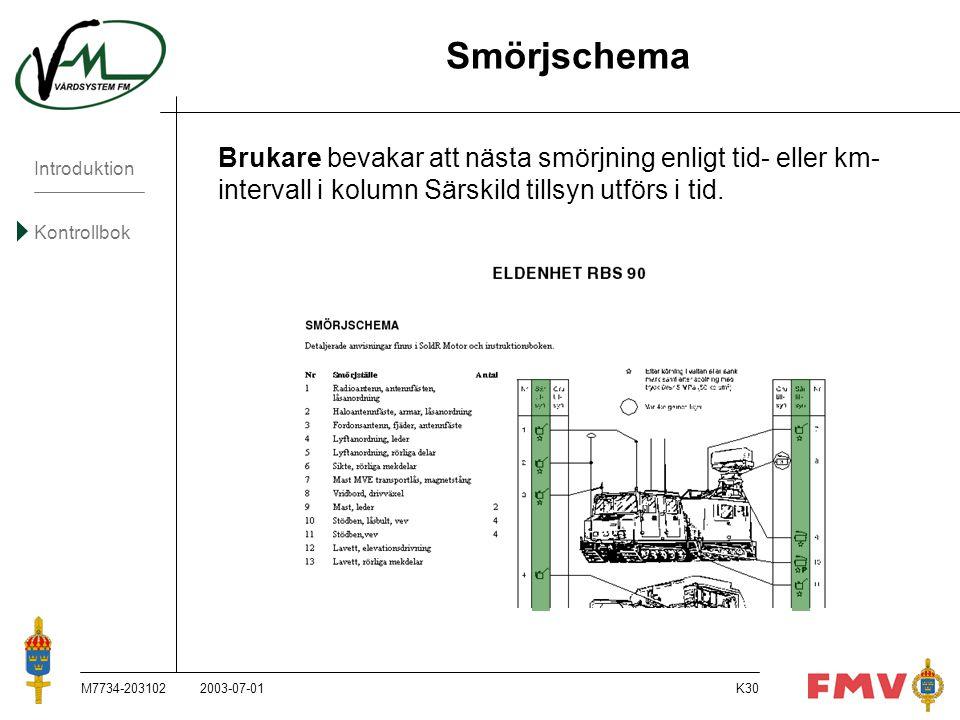 Smörjschema Brukare bevakar att nästa smörjning enligt tid- eller km- intervall i kolumn Särskild tillsyn utförs i tid.