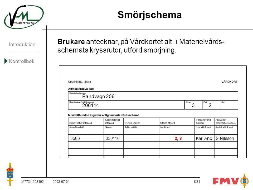 Smörjschema Brukare antecknar, på Vårdkortet alt. i Materielvårds- schemats kryssrutor, utförd smörjning.