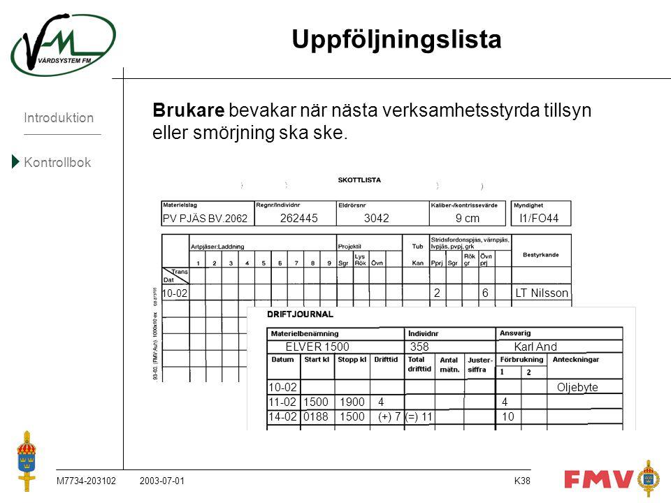 Uppföljningslista Brukare bevakar när nästa verksamhetsstyrda tillsyn eller smörjning ska ske. PV PJÄS BV.2062 262445 3042 9 cm I1/FO44.