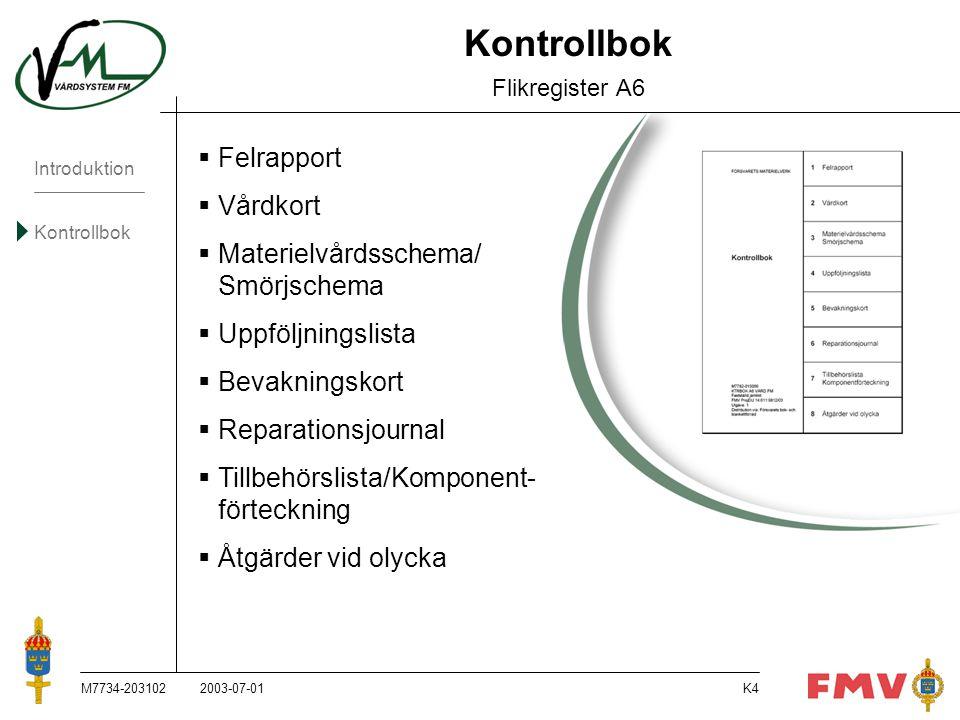 Kontrollbok Flikregister A6