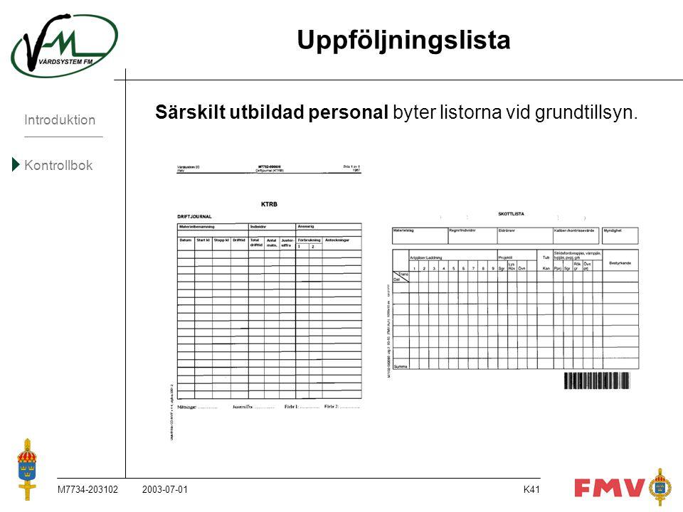 Uppföljningslista Särskilt utbildad personal byter listorna vid grundtillsyn. M7734-203102. 2003-07-01.