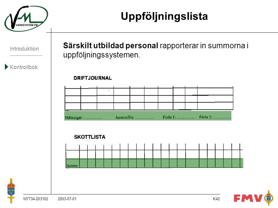 Uppföljningslista Särskilt utbildad personal rapporterar in summorna i uppföljningssystemen. M7734-203102.
