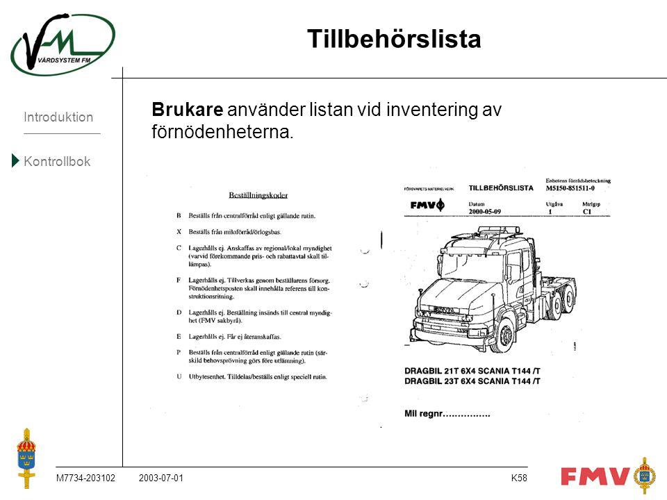 Tillbehörslista Brukare använder listan vid inventering av förnödenheterna. M7734-203102. 2003-07-01.