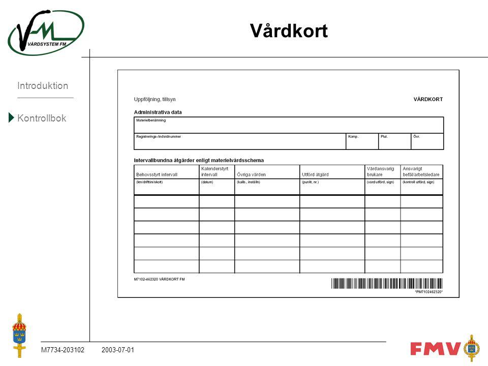 Vårdkort M7734-203102 2003-07-01 M7734-203102, 2003-07-01