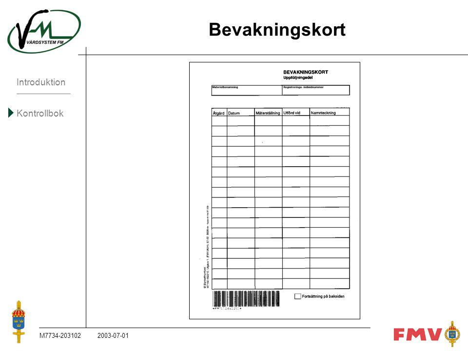 Bevakningskort M7734-203102 2003-07-01 M7734-203102, 2003-07-01
