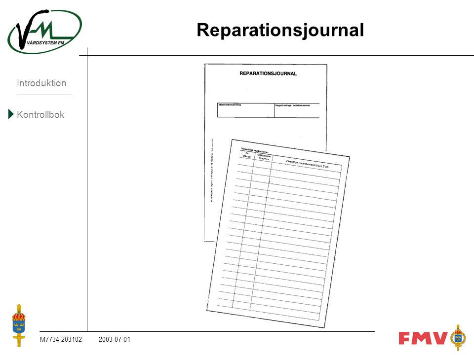 Reparationsjournal M M ,