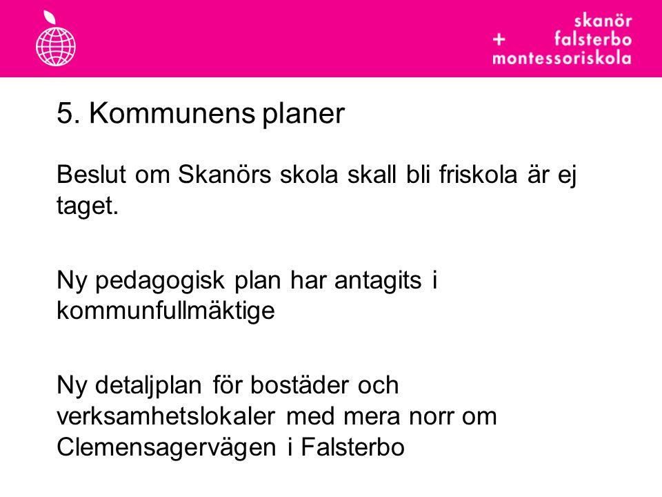 5. Kommunens planer Beslut om Skanörs skola skall bli friskola är ej taget. Ny pedagogisk plan har antagits i kommunfullmäktige.