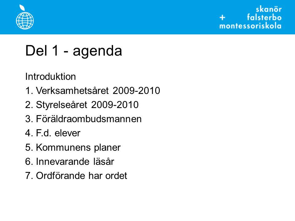 Del 1 - agenda Introduktion 1. Verksamhetsåret 2009-2010