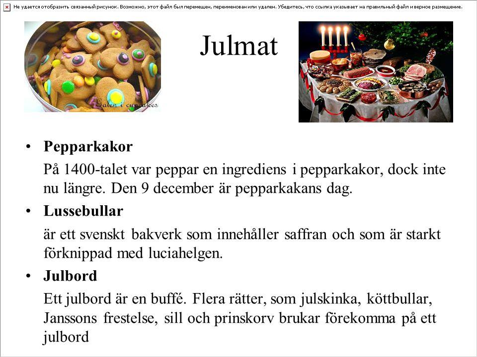 Julmat Pepparkakor. På 1400-talet var peppar en ingrediens i pepparkakor, dock inte nu längre. Den 9 december är pepparkakans dag.