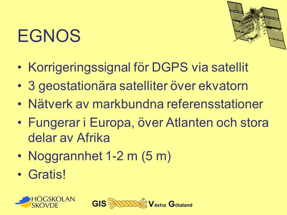 EGNOS Korrigeringssignal för DGPS via satellit