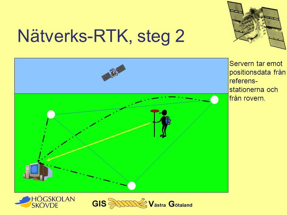 Nätverks-RTK, steg 2 Servern tar emot positionsdata från referens-