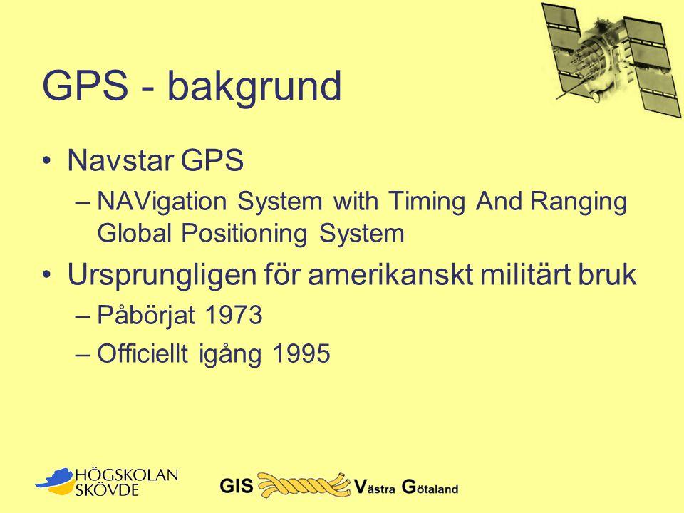 GPS - bakgrund Navstar GPS Ursprungligen för amerikanskt militärt bruk