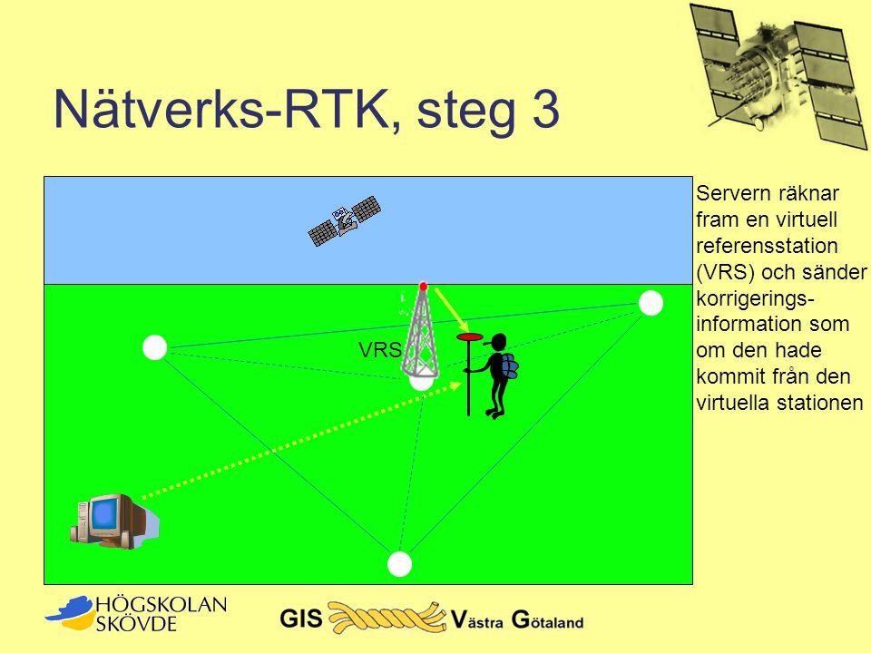 Nätverks-RTK, steg 3 Servern räknar fram en virtuell referensstation (VRS) och sänder. korrigerings- information som.