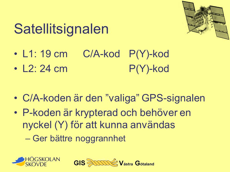 Satellitsignalen L1: 19 cm C/A-kod P(Y)-kod L2: 24 cm P(Y)-kod