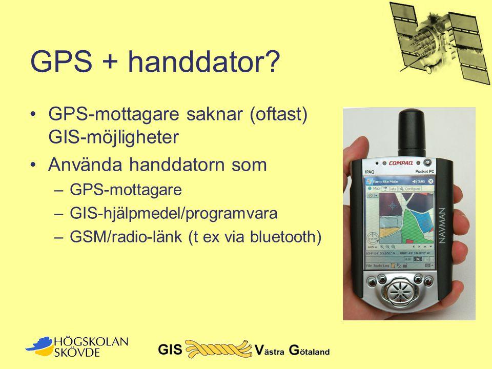 GPS + handdator GPS-mottagare saknar (oftast) GIS-möjligheter