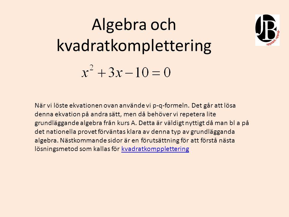 Algebra och kvadratkomplettering