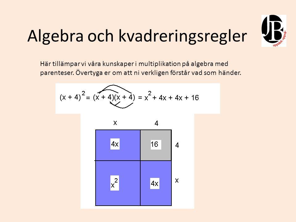 Algebra och kvadreringsregler
