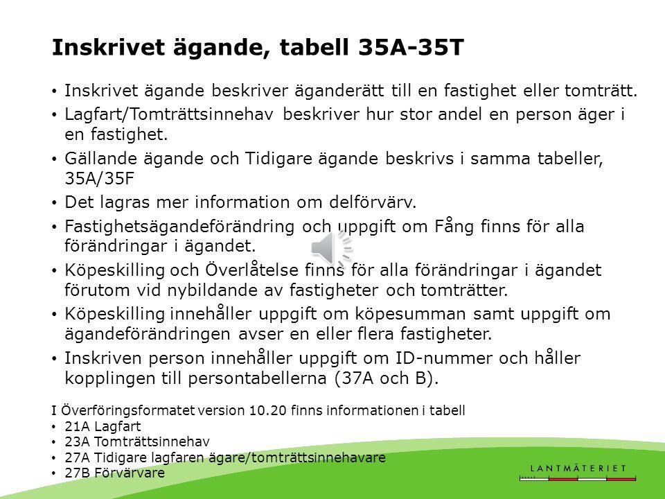 Inskrivet ägande, tabell 35A-35T
