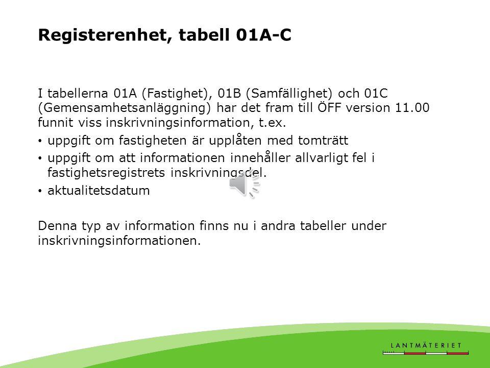 Registerenhet, tabell 01A-C