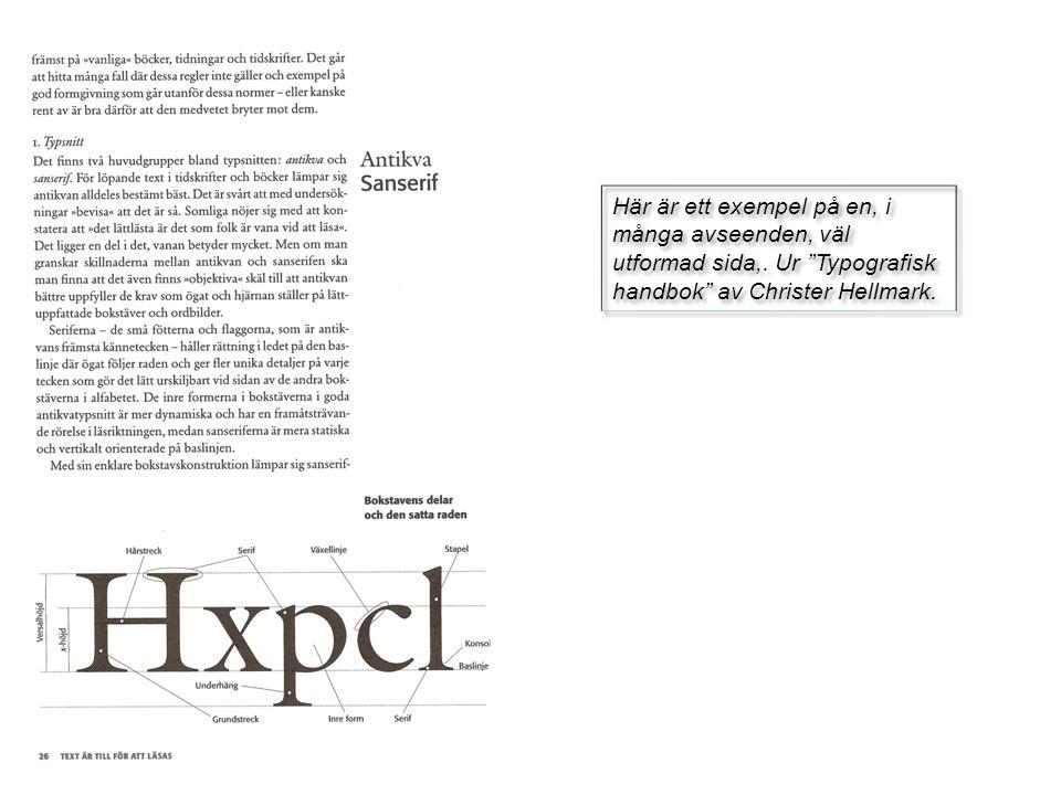 Här är ett exempel på en, i många avseenden, väl utformad sida,