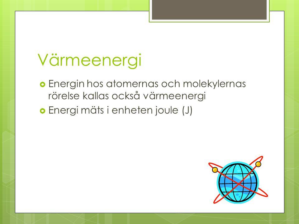 Värmeenergi Energin hos atomernas och molekylernas rörelse kallas också värmeenergi.
