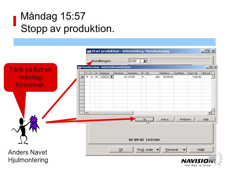 Måndag 15:57 Stopp av produktion.