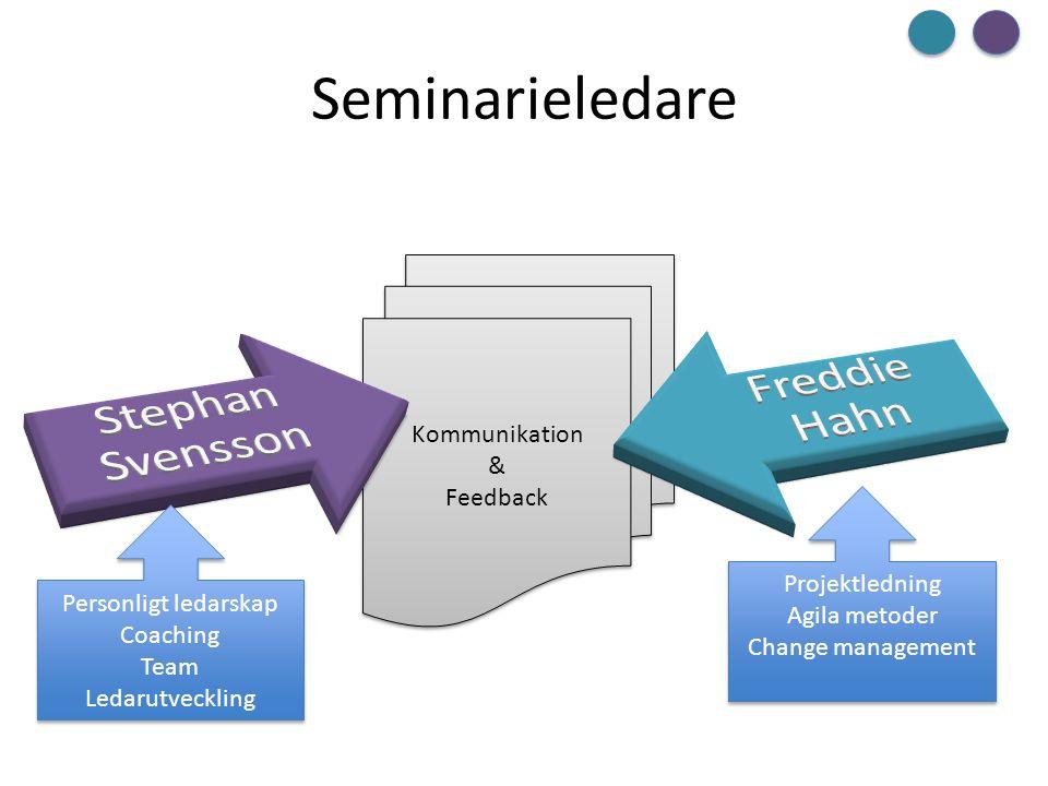 Seminarieledare Freddie Hahn Stephan Svensson Kommunikation & Feedback