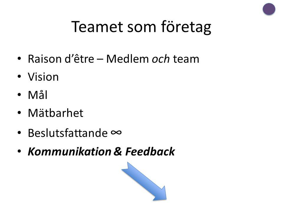Teamet som företag Raison d'être – Medlem och team Vision Mål